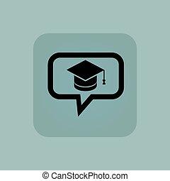 Pale blue graduation message icon