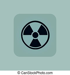 Image of radio hazard symbol in square, on pale blue background