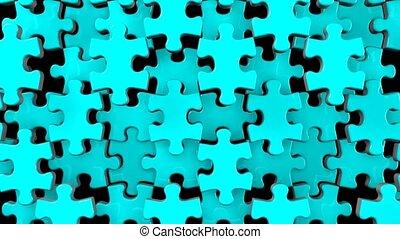 Pale blue jigsaw puzzle on black background. 3DCG render ...