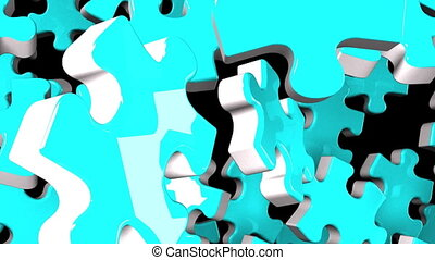Pale blue jigsaw puzzle on black background. 3DCG render...