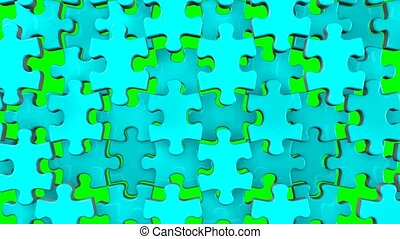 Pale blue jigsaw puzzle on green chroma key. 3DCG render...
