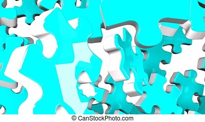 Pale blue jigsaw puzzle on white background. 3DCG render...