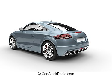 Pale Blue Metallic Car - Back View