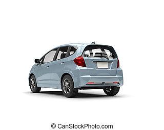 Pale blue metallic modern compact car - rear view