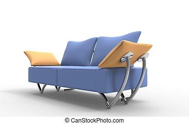 Pale Blue Modern Sofa