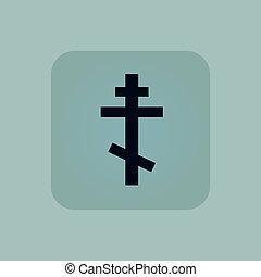 Pale blue orthodox cross icon