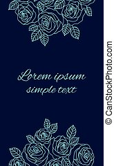 Pale blue outline roses wreath wedding invitations