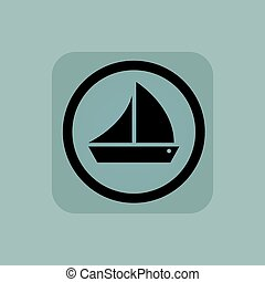 Pale blue sailing ship sign