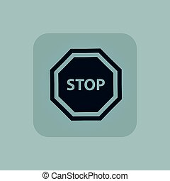 Pale blue STOP sign icon