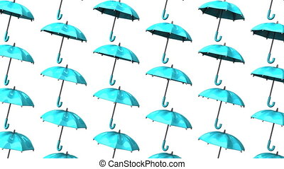 Pale Blue Umbrellas On White Background. Loop able 3DCG...