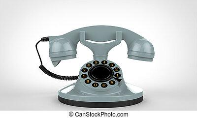 Pale blue vintage telephone - 3D Illustration