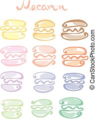 pale color  assorted macaron sweet cake. vector illustration