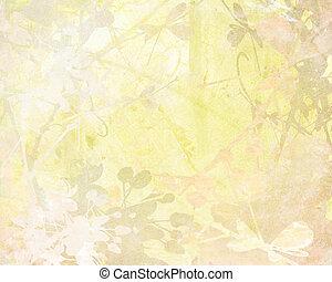 Pale Flower Art on Paper Textured Background
