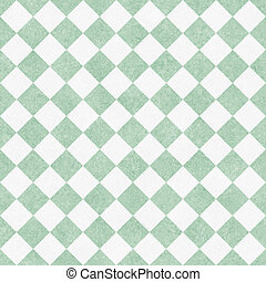 Pale Green and White Diagonal Checkers Textured Fabric Background that is seamless and repeats