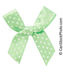 Pale green bow with white dots isolated on white, clipping path