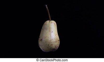 Pale pear rotating on black background, isolated studio shot...