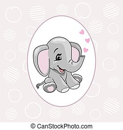 Pale purple background with cartoon smiling elephant for scrapbook design