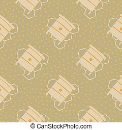 Pale seamless pattern with honeycombs and beehives. Beige dotted background. Pastel palette artwork.