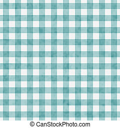 Pale Teal Gingham Pattern Repeat Background that is seamless...