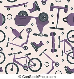 Pale violet pattern with cycling teenager transport