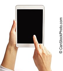 palec, ekran, tabliczka, spoinowanie, pc