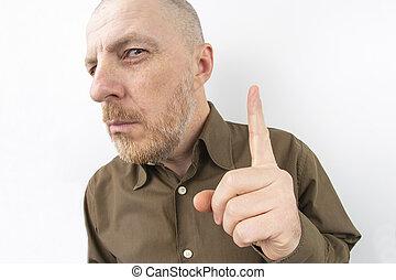 palec wskazujący, brodaty, jego, spoinowanie do góry, palec, człowiek