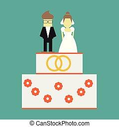 palefrenier, anneaux, salutation, toppers, mariée, vecteur, gâteau mariage, carte