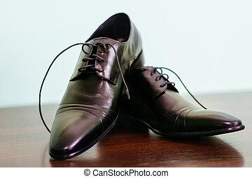 palefrenier, chaussure, attachement, dentelles