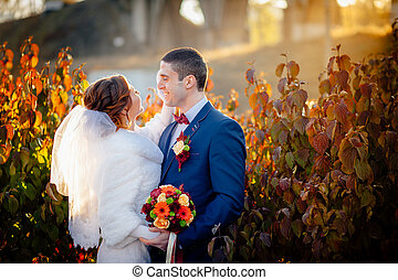 palefrenier, et, mariée, automne, mariage