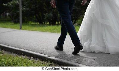 palefrenier, mariée, parc, marche