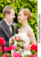 palefrenier, mariage, -, parc, mariée