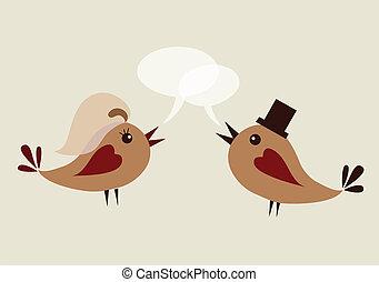 palefrenier, oiseau, épouse
