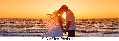 palefrenier, panorama, couple, mariés, mariée, coucher soleil, mariage, plage