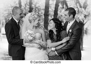 palefrenier, parc, mariée, témoin, portrait, meilleur homme
