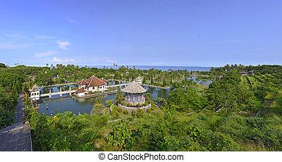 paleis, bali, panorama, water, ujung, taman