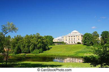paleis, op, heuvel, in, pavlovsk, park