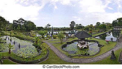 paleis, panorama, indonesie, tirtagangga, bali, water