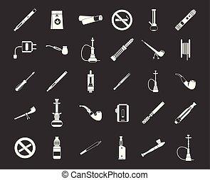 palenie, wektor, komplet, szary, ikona