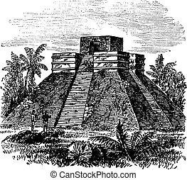 Palenque Pyramid temple in Mexico vintage engraving