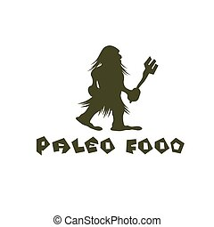 paleo, 食物, 穴居人, ベクトル, デザイン, テンプレート