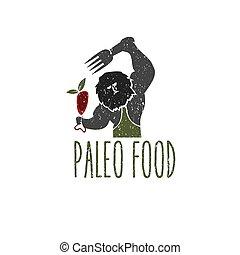 paleo, alimento, caveman, vetorial, desenho, modelo
