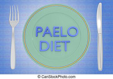 PALEO DIET concept - 3D illustration of PALEO DIET title on...