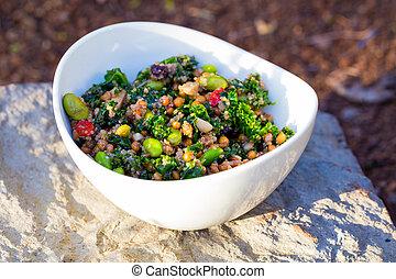 Paleo Diet Quinoa Kale Salad - Raw paleo quinoa kale salad ...
