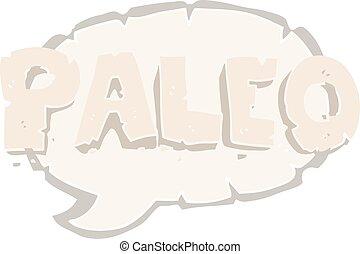 paleo flat color illustration of a cartoon sign - paleo flat...