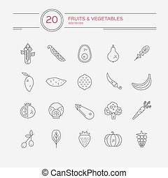 Paleo Food - Fruits and vegetables line icon collection made...