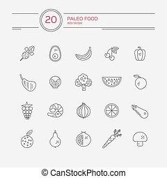 Paleo Food - Monocolor paleo food linear icon collection...