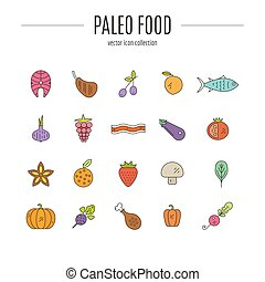 Paleo Food - Paleo food icon collection made in linear style...