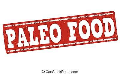 Paleo food stamp - Paleo food grunge rubber stamp on white...