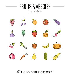 Paleo Food - Vector line style icons of different fruits and...