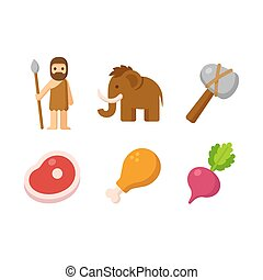 Paleo icon set - Paleo man and prehistoric food icon set....